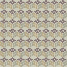 Cubism Wheat. Interlocking cubes in brown, wheat, and khaki on a gray background.