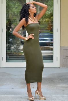 Chic Couture Online - Mandi Olive Green Strapless Maxi Dress, $50.00 (http://www.chiccoutureonline.com/mandi-olive-green-strapless-maxi-dress/?page_context=category