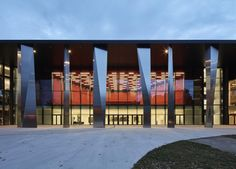 Image 1 of 15 from gallery of Convention Centre Strasbourg & Dietrich Theater Architecture, Architecture Life, Contemporary Architecture, Strasbourg, Foyers, Halle, Function Hall, Steel Columns, Unique Buildings
