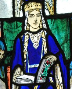 Queen Margaret of Scotland, wife of Malcolm III, and sister to Edgar the Atheling, as she is depicted in stained glass in the the chapel dedicated to her in Edinburgh Castle. Age 27 in 1072.