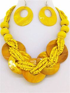 Chunky Yellow Shell Charm Silver Necklace Earring Set Fashion Costume Jewelry | eBay