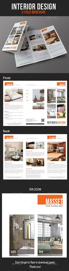 Pink And Black Trifold Fully, Easily and Editable - interior design brochure template