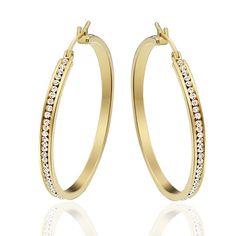 Charm Womens White Topaz Gold Stainless Steel Ear Big Oval Hoop Earrings 1 Pair
