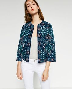 Image 4 of EMBROIDERED MIRROR JACKET from Zara