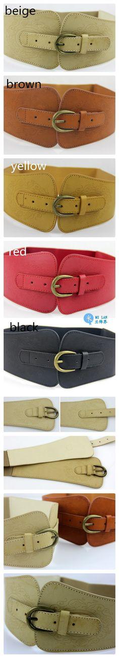 3.15 euro incl shipping Retro totem imitation leather pin buckle wide belt for women,female designer fashion brand waist belt,lady's waist docoration-in Belts & Cum...