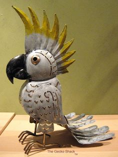 Sulphur Crested Cockatoo Metal Tealight Candle Holder Deck Home & Garden Parrot