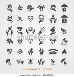Set insurance icons. File is saved in AI10 EPS version. This illustration contains a transparency