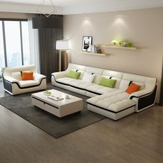 Угловой диван в комплекте с креслом в интерьере гостиной белого цвета