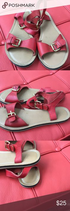 "Red leather sandals, says size 5 Red leather, good color, 9-3/4"" long (fits 7.5 to 8) but says 5. In very good condition. Bottoms discolored. Worn by me 7.5, 2-3 x. ASOS Shoes Sandals"