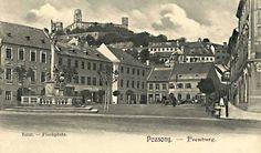 Rybné námestie s morovým stĺpom Bratislava, Old Street, Old City, Time Travel, Arch, Castle, Louvre, Building, Times