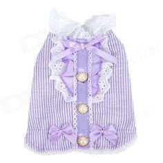 Patrón de la raya vertical de algodón para mascotas ropa para perros - Purple (S)