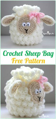 Crochet Sheep Drawstring Bag Free Pattern - Crochet Kids Bags Free Patterns