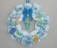 Diaper Wreath for a baby shower gift