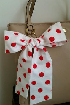 Polka Dot Red Purse Scarf Neck Bow Hair Wrap Hatband by CindiLuv