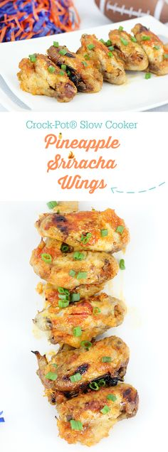 Crock-Pot® Slow Cooker Pineapple Sriracha Chicken Wings. Easy and delicious recipe that's perfect for game day. #CrockPotRecipes #ad
