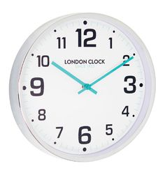 LARGE CHROME WITH TEAL BLUE HANDS WALL CLOCK