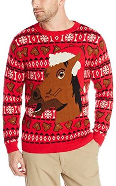 Alex Stevens Men's Happy Holidays Horse Ugly Christmas Sweater, Red Combo, Small ❤ Alex Stevens Men's Tops