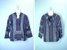 Vintage Hoodie / 1980s Blanket Boho Jacket / lxl by SnapVintage, $31.00