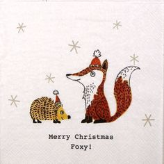 4 Single  Party Paper Napkins for Decoupage Decopatch Craft Merry Christmas Foxy