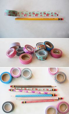 Create your own personalized pencils with patterned tape, so cute! #backtoschool #office #diy