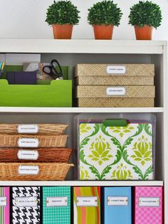 Re-organizing shelves in my craft room.    Has a free label template downloadable.  Can make magazine file holders out of repurposed priority mail boxes.