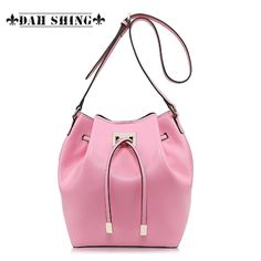 (132.00$)  Watch now - http://ai8k5.worlditems.win/all/product.php?id=32332728963 - Spring fashion Pink/sky blue women's messenger bag 100% Genuine leather bucket bag small drawstring drum-shaped handbag handmade