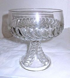 "EAPG - Adams & Co / US Glass - Plume - Open Compote - 6 1/2"" Wide x 7 1/2"" High"