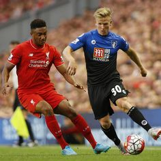 Matt Ritchie in action at Anfield. #LIVBOU