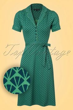 King Louie Bibi Dress in Green 102 49 20208 20170110 40s Outfits, Vintage Outfits, Vintage Inspired Outfits, Vintage Style Dresses, Retro Outfits, Modest Outfits, Vintage Fashion, King Louie, Vintage Tops