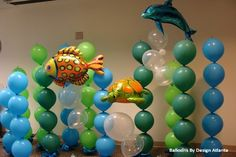 Balloon art makes the best kids party decoration with unique, colorful designs perfect for children. Call Design by Atlanta in the Johns Creek, GA area for information. Ocean Party, Shark Party, Water Party, Beach Party, Under The Sea Theme, Under The Sea Party, Balloon Backdrop, Balloon Decorations, Balloon Ideas