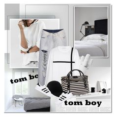 """""""Tomboy"""" by anna-anica ❤ liked on Polyvore featuring J.W. Anderson, Kate Spade, STELLA McCARTNEY, adidas Originals, stripes and tomboy"""
