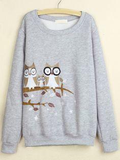 Grey Round Neck Owl Embroidered Sweatshirt