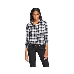 Women's Flannel Shirt Black - Jachs Manufacturing Co. , Black/White ($24) ❤ liked on Polyvore featuring tops, t-shirts, black and white plaid shirt, plaid t shirt, black plaid shirt, t shirts and black button down shirt