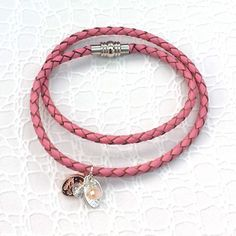 Leather Wrap Bracelet - Pink