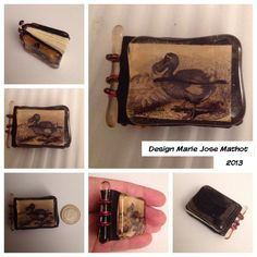 Miniature book with glass fused cover, in black leather. Behind the glass Dodo picture and also inside. For birthday Perry.