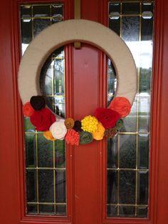 Homemade felt flower wreath