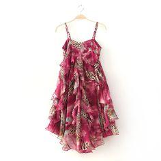 ]Lotus leaf colorful leopard chiffon strap dress