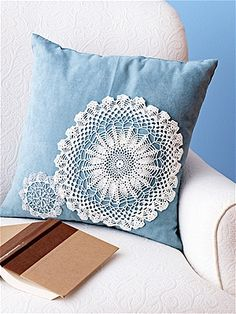 doily pillow-solid color with doilies over top