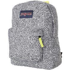 Jansport Superbreak Backpack ($36) ❤ liked on Polyvore featuring bags, backpacks, black ziggy, padded bag, strap backpack, black backpack, black bag and padded backpack
