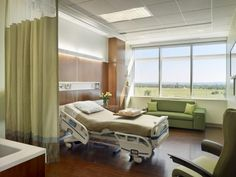 The main priorities for the patient room design at Einstein Medical Center Montgomery included maximizing space around the bed and providing visual connectivity to the sprawling rural site. Credit: Halkin Mason Photography.