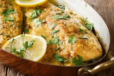 Usually I find baked fish recipes produce boring results; no flavor. Offering Fish Scampi(shown)and more. Discover simple ingredients do make the best tasting baked fish! Fish Recipes Camping, Easy Baked Fish Recipes, Whole Fish Recipes, Healthy Recipes, Crappie Recipe, Walleye Fish Recipes, Baked Walleye, Grilled Walleye, Salads