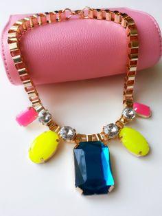 Neon yellow and pink, statement necklace / Neon sarı ve pembe taşlı kolye www.gigidukkan.com
