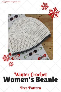 Are you ready for winter? Would you like to crochet a beanie? Check out this free crochet pattern for a Women's Beanie. It's basic and easy, but by adding more colors you can really alter it to taste   Happy in Red https://www.facebook.com/HappyInRed/