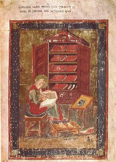 "Folio 5r Ezra of Codex Amiatinus.  Folio 5r from the Codex Amiatinus (Florence, Biblioteca Medicea Laurenziana, MS Amiatinus 1), Ezra the scribe. ""When the sacred books had been consumed in the fires of war, Ezra repaired the damage."""