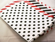 20 large BLACK polka Dots on White Kraft paper bags  6 1/4 x 9 3/4 - Packaging, Party Favors, Treats, Retail - $5.95