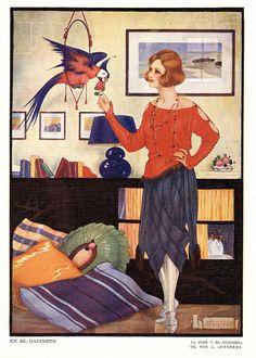 Art Deco Woman With Parrot 1920s Spain - Fine Art Print