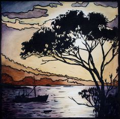This original linocut print depicts a wintery sunset scene looking across the water in Tasmanias east coast town, BIcheno. I love the shape of the