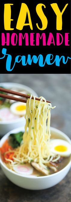 Easy Homemade Ramen - Damn Delicious -- The easiest ramen you will ever make in less than 30 min from start to finish. And it's so much tastier (and healthier) than the store-bought version! Ramen Recipes, Asian Recipes, Vegetarian Recipes, Dinner Recipes, Cooking Recipes, Dinner Ideas, Chinese Recipes, Mexican Recipes, Delicious Recipes