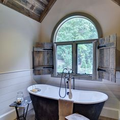 Rustic-Bathroom Rustic Barn Bathroom: Rustic Farmhouse Bathroom Ideas Save Money By Improving Hot Wa Barn Bathroom, Bathroom Windows, Attic Bathroom, Bathroom Ideas, Bathroom Designs, Wooden Bathroom, Bathroom Blinds, Bathroom Modern, Cosy Bathroom