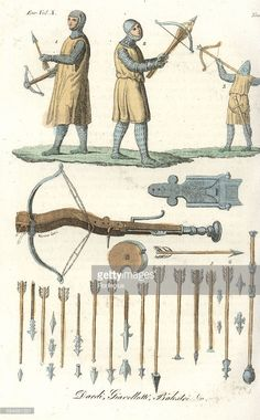 Medieval Archers with types of Crossbow Arrows